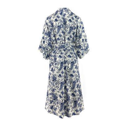 paisley pattern maxi robe white